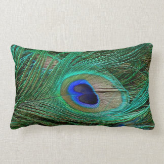 Indian Blue Peacock Feather Lumbar Pillow