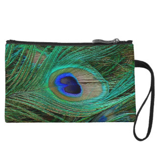 Indian Blue Peacock Feather Mini Clutch Wristlet Clutches