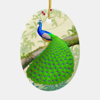 Indian Blue Peacock in Jungle Ornament