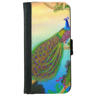 Indian Blue Peacock in Tree Samsung Galaxy Case iPhone 6 Wallet Case