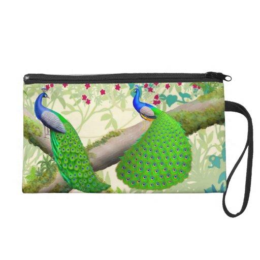 Indian Blue Peacocks in Jungle Bagettes Bag Wristlet