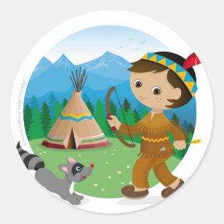 Indian boy classic round sticker
