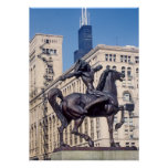 Indian Bronze Statue in Chicago Poster