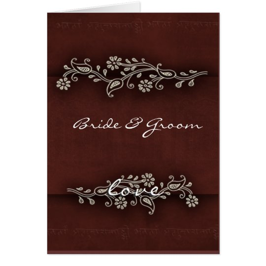 Indian brown with pewter flower design card