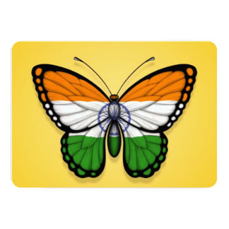 """Indian Butterfly Flag on Yellow 5"""" X 7"""" Invitation Card"""