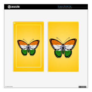 Indian Butterfly Flag on Yellow Kindle Fire Decals