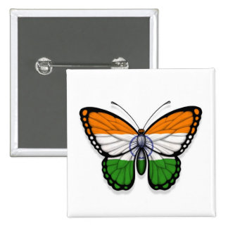 Indian Butterfly Flag Pinback Button