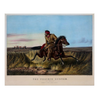 INDIAN CHASE on the PRAIRIE  1852 Poster
