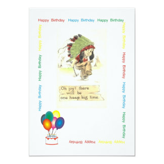Indian Chief Birthday Party 5x7 Paper Invitation Card