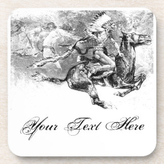Indian chief charging on horse: American Wild West Beverage Coaster