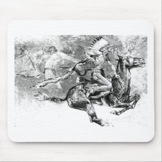 Indian chief charging on horse: American Wild West Mouse Pad