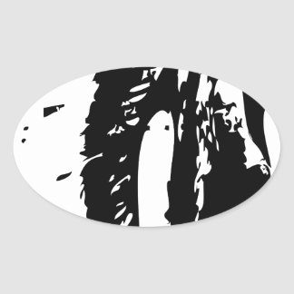 indian chief female oval sticker