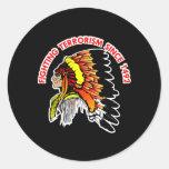 Indian Chief Fighting Terrorism Black Classic Round Sticker
