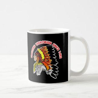 Indian Chief Fighting Terrorism Black Coffee Mug