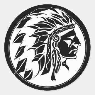 Indian Chief Head Classic Round Sticker