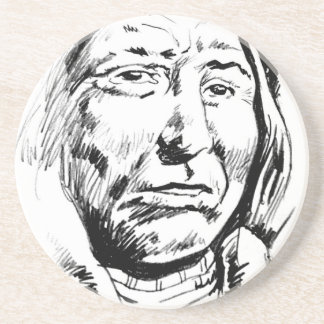 Indian Chief Ink Sketch Motivational Drink Coaster