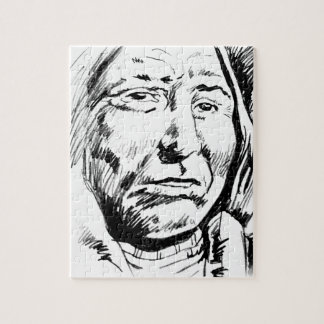 Indian Chief Ink Sketch Motivational Jigsaw Puzzle