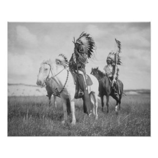 Indian Chief on Horseback, 1905. Vintage Photo Poster