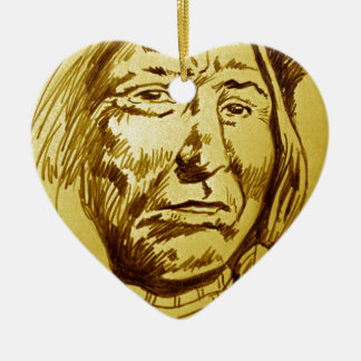 Indian Chief Pencil Sketch Double-Sided Heart Ceramic Christmas Ornament