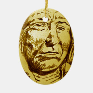 Indian Chief Pencil Sketch Double-Sided Oval Ceramic Christmas Ornament