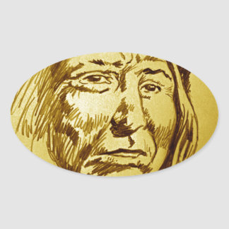 Indian Chief Pencil Sketch Oval Sticker