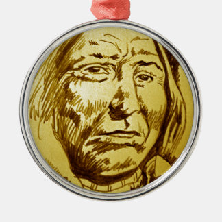 Indian Chief Pencil Sketch Round Metal Christmas Ornament