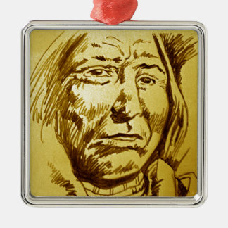 Indian Chief Pencil Sketch Square Metal Christmas Ornament