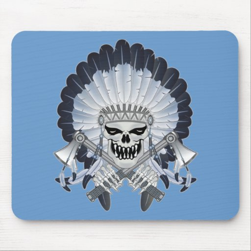 Indian Chief Skull Mouse Pad