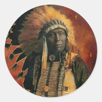 Indian_Chief Round Stickers