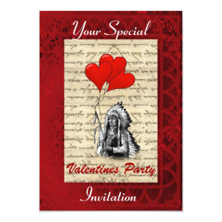 Indian chief Valentines party 5x7 Paper Invitation Card