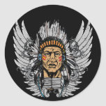 Indian Chief Wings Round Sticker