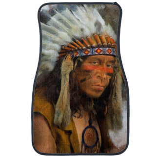 Indian Chief With Feather Headdress Printed Car Floor Mat