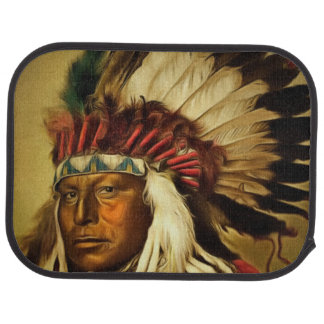 Indian Chief With Full Head Dress Printed Car Floor Mat