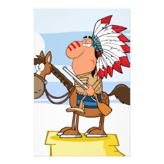 Indian Chief With Gun On Horse Stationery