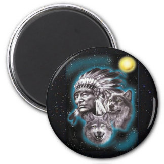 Indian Chief & Wolves 2 Inch Round Magnet