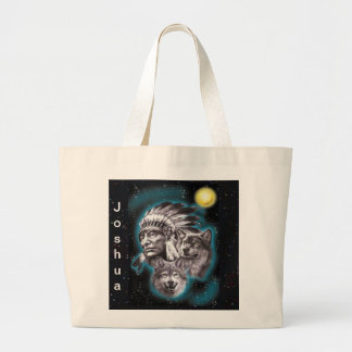Indian Chief & Wolves Tote Bag