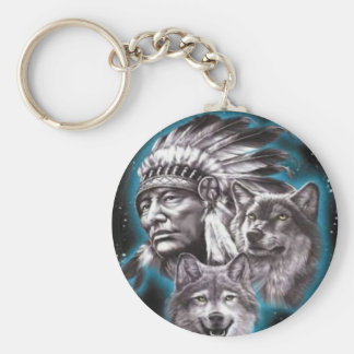 Indian Chief & Wolves Keychain
