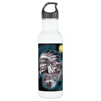 Indian Chief & Wolves Liberty Bottle