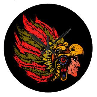 Indian Chieftain head illustration Large Clock