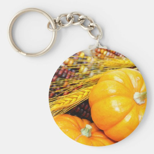 Indian Corn And Small Pumpkins Keychain