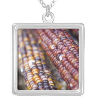 Indian Corn at the Union Square Greenmarket, New Y Silver Plated Necklace