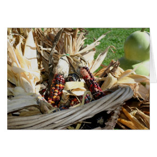 Indian Corn In Basket Nature Photography Card