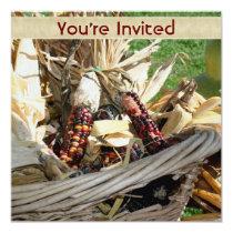 Indian Corn Wicker Basket Nature Invitation