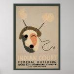 Indian Court Federal Building Eskimo Mask Golden Poster
