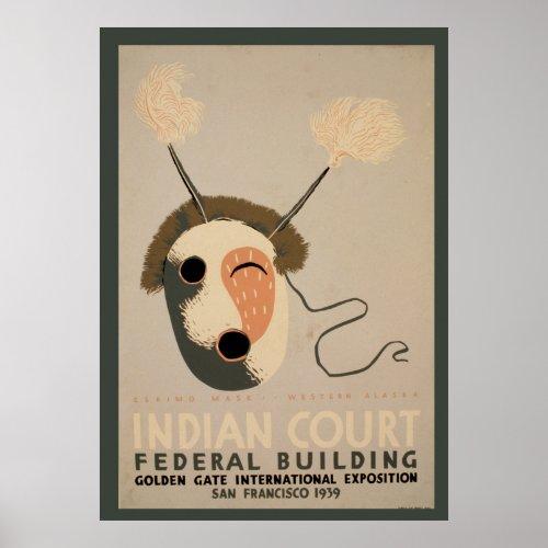 Indian Court Federal Building Eskimo Mask Golden