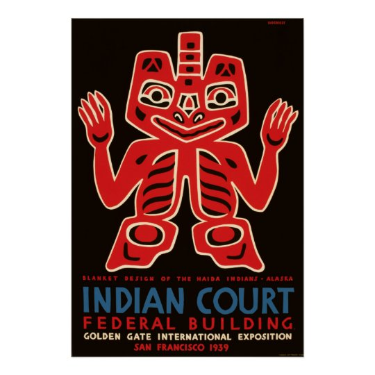 Indian Court Federal Building WPA Vintage Travel Poster