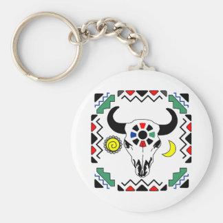 Indian Cow Skull Basic Round Button Keychain