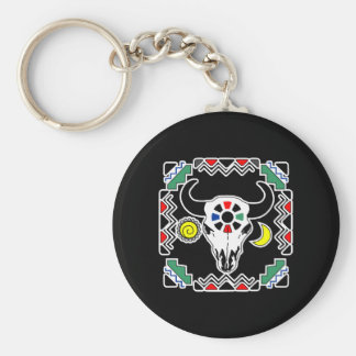 Indian Cow Skull Black Basic Round Button Keychain