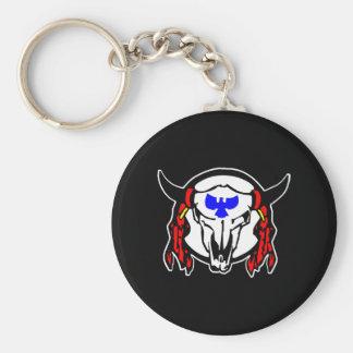 Indian CowskullBlack Basic Round Button Keychain