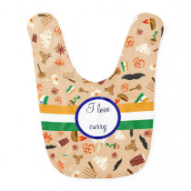 Indian cultural items with flag and monogram baby bib